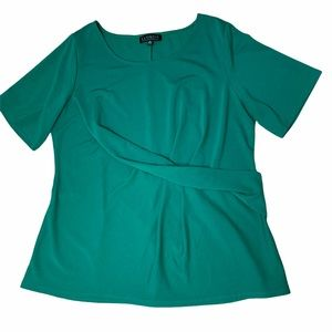 Eloquii green Short Sleeve Twist Front Top